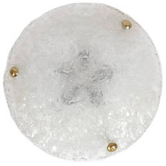 1 of 2 Large Textured Hillebrand Dome Glass Flush Mounts
