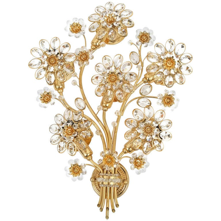 Wall Sconces With Flowers: Single Italian Giant Flower Sconce At 1stdibs