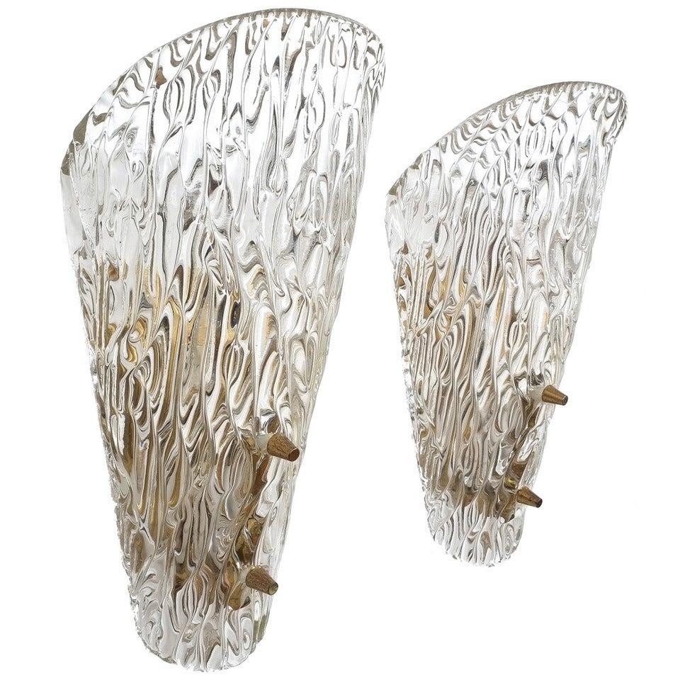 Textured Glass Sconces by J.T Kalmar