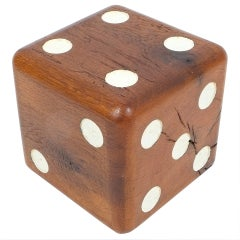 Large Solid Wooden Dice, circa 1950