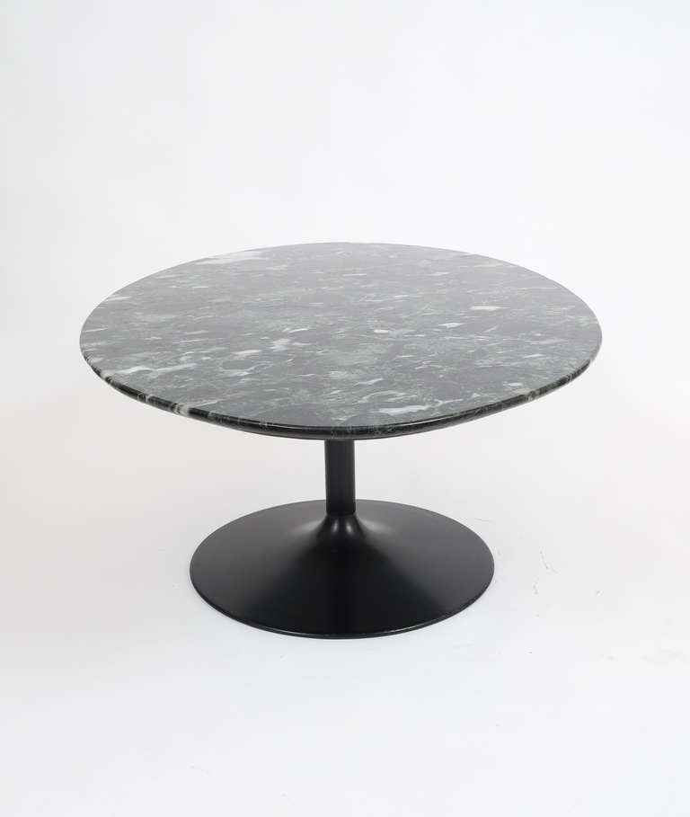 Oval Coffee Table Marble: Oval Black Marble Coffee Table In The Style Of Saarinen At