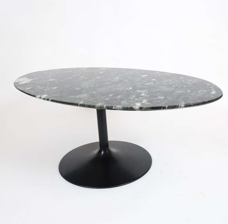 Oval Black Marble Coffee Table In The Style Of Saarinen At