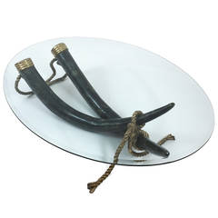Large Bronze Brass Elephant Tusk Table by Italo Valenti