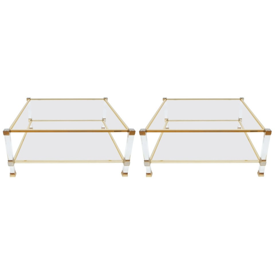 Pair of Lucite and Brass Signed Coffee Tables by Pierre Vandel, 1970