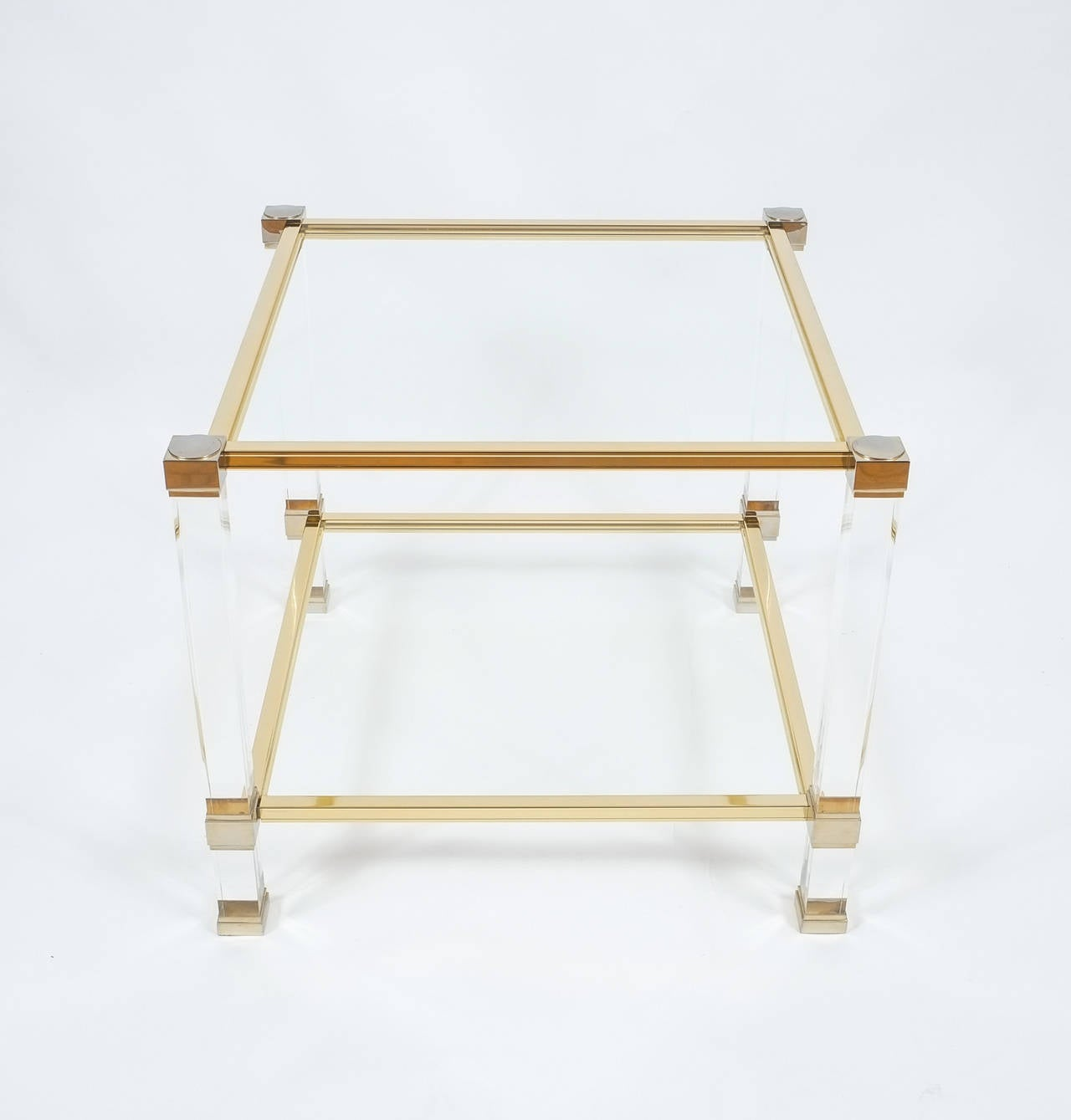 Late 20th Century Pair of Lucite and Brass Signed Coffee Tables by Pierre Vandel, 1970