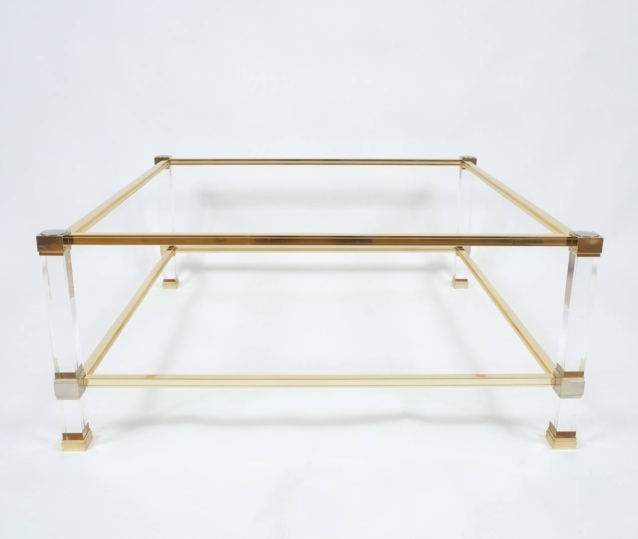 French Pair of Lucite and Brass Signed Coffee Tables by Pierre Vandel, 1970