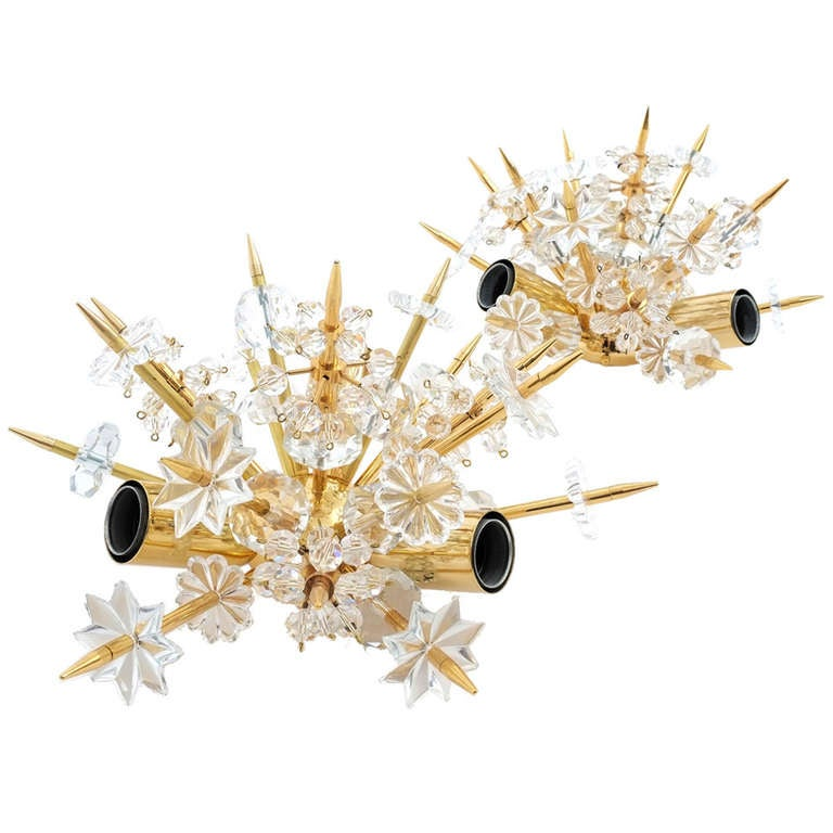 Fantastic Pair Starburst Crystal Sconces By Bakalowits And