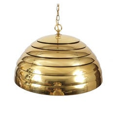 Florian Schulz Large Behive Brass Dome Pendant Lamp Translucent Diffuser, 1960