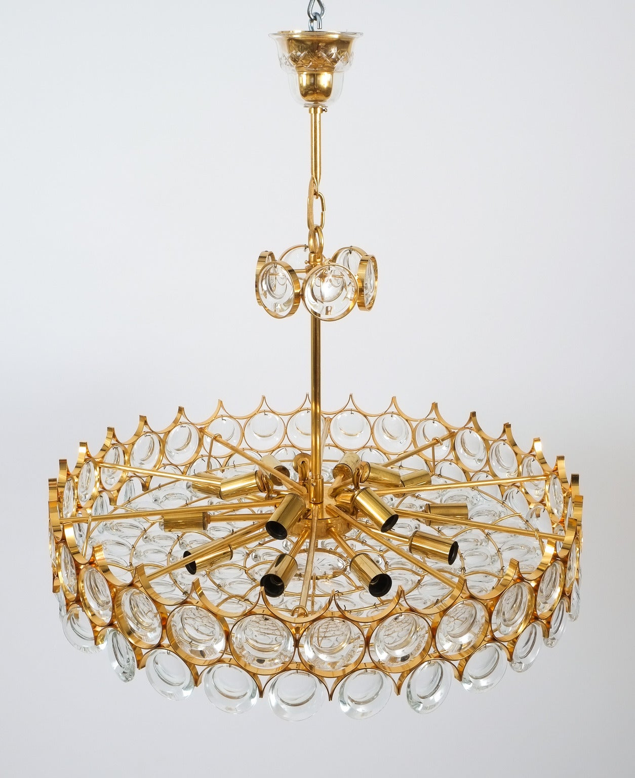 Late 20th Century Palwa Gold Brass and Glass Large Chandelier Ceiling Lamp, 1960 For Sale