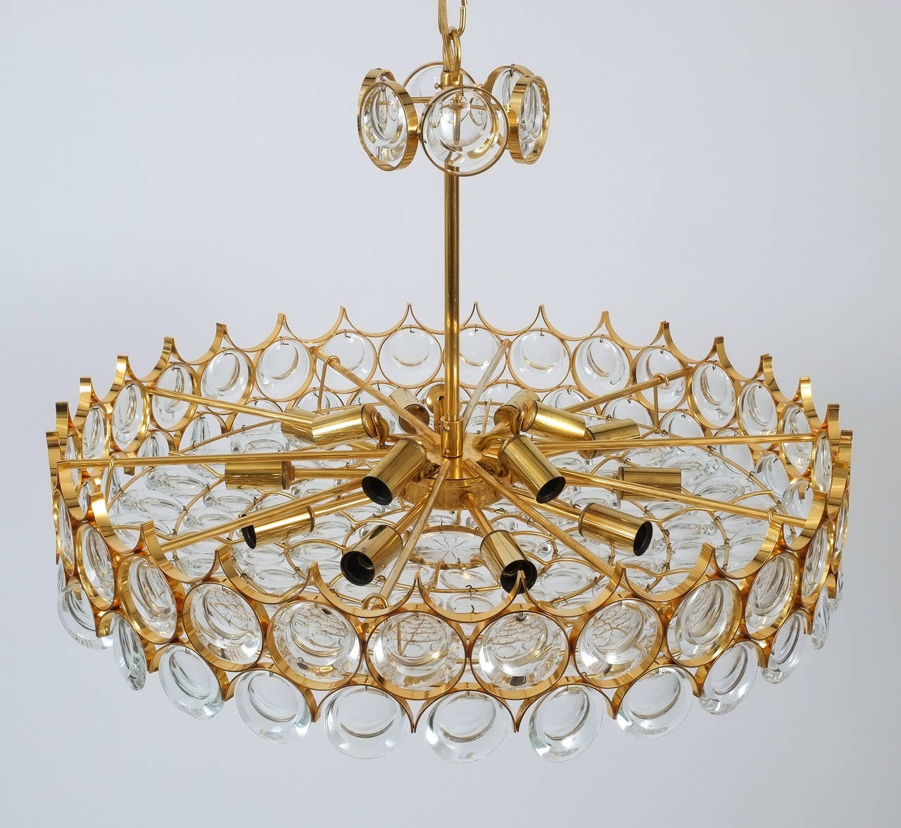 German Palwa Gold Brass and Glass Large Chandelier Ceiling Lamp, 1960 For Sale