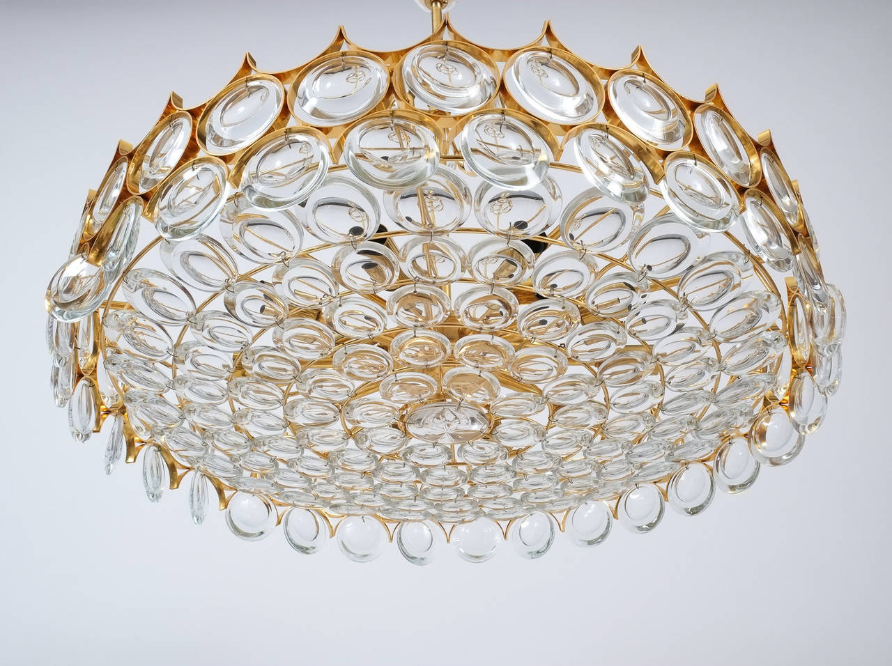 Hollywood Regency Palwa Gold Brass and Glass Large Chandelier Ceiling Lamp, 1960 For Sale