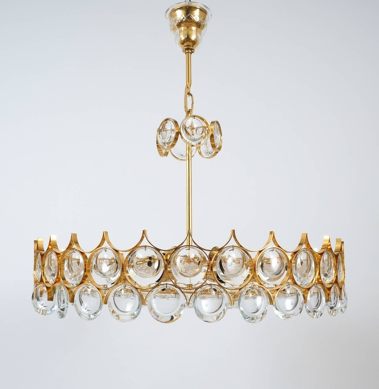 Palwa Gold Brass and Glass Large Chandelier Ceiling Lamp, 1960 For Sale 1
