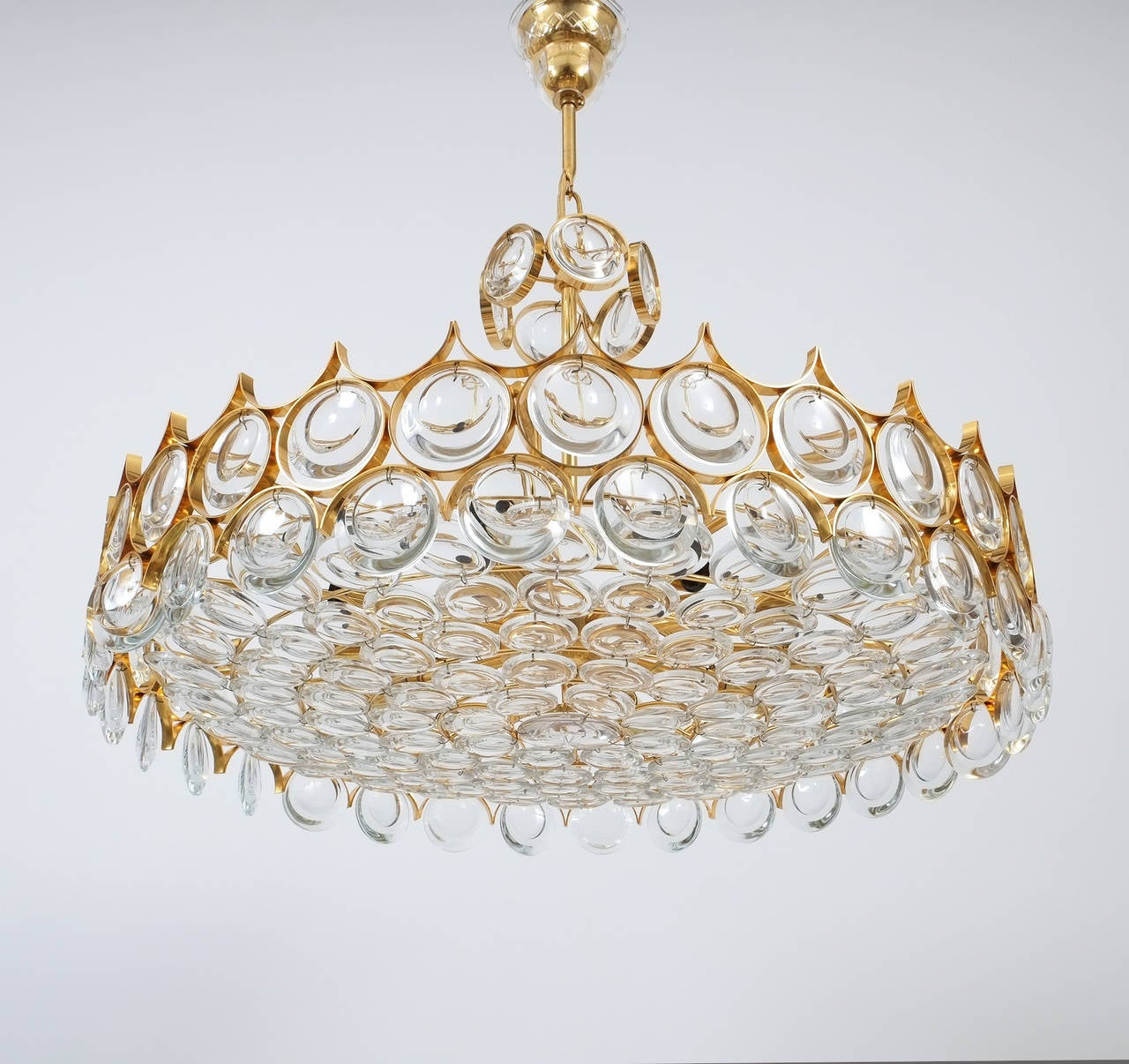 Palwa Gold Brass and Glass Large Chandelier Ceiling Lamp, 1960 For Sale 2