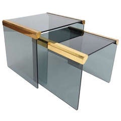 Set Of Two Smoked Glass Nest Side Tables By Pierangelo Galotti