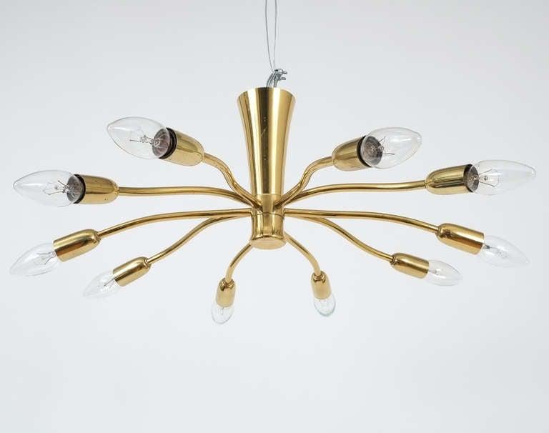 J.T Kalmar Brass Sputnik Scorpio Chandelier Ceiling Lamp Light, 1950 7