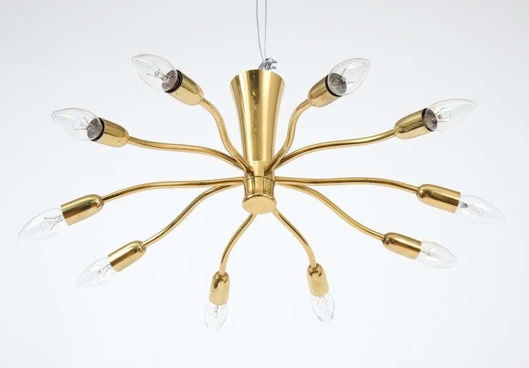 J.T Kalmar Brass Sputnik Scorpio Chandelier Ceiling Lamp Light, 1950 4