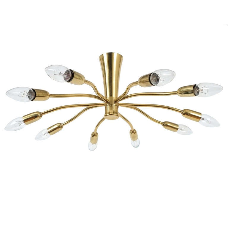 J.T Kalmar Brass Sputnik Scorpio Chandelier Ceiling Lamp Light, 1950 2