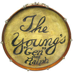 """1920s Ludwig Drum Table with Glass Top, the Young's """"Gen"""" and Ralph"""