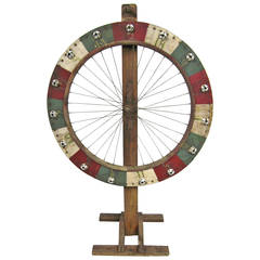 Early Folk Art Wooden Tire Game Wheel