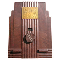 Rare Brown Bakelite Egyptian Air King Sky Scraper Tube Radio, 1933