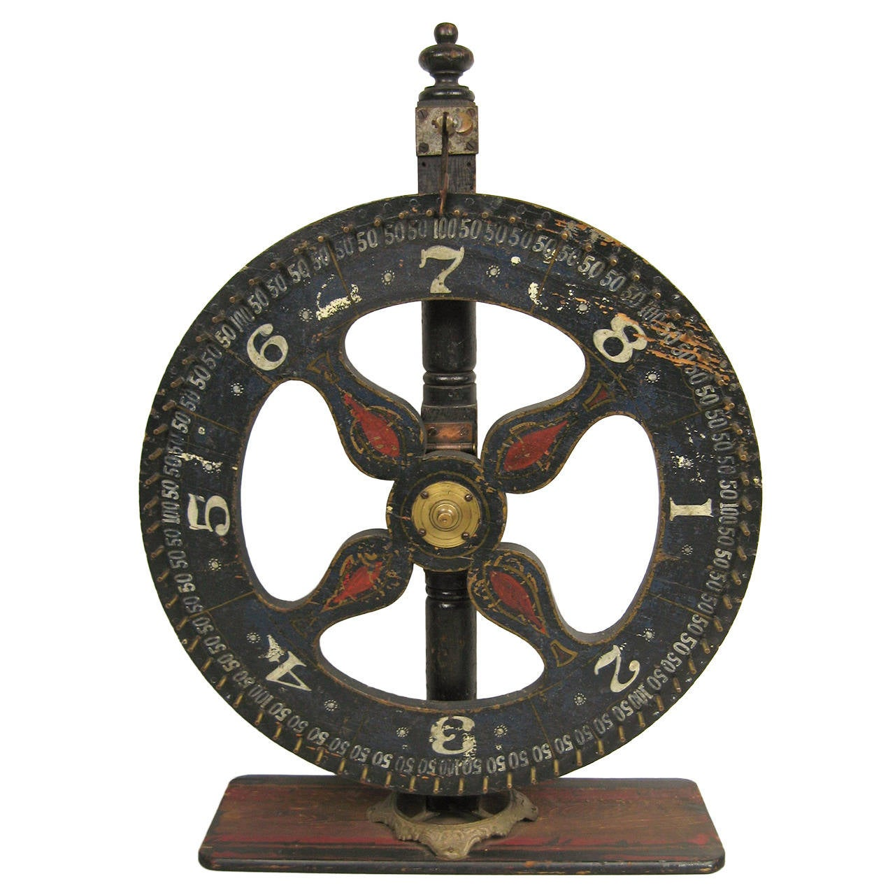 Hand-Painted Early Americana Folk Art Game Wheel