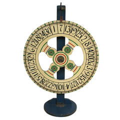 Hand-Painted Americana Folk Art Game Wheel