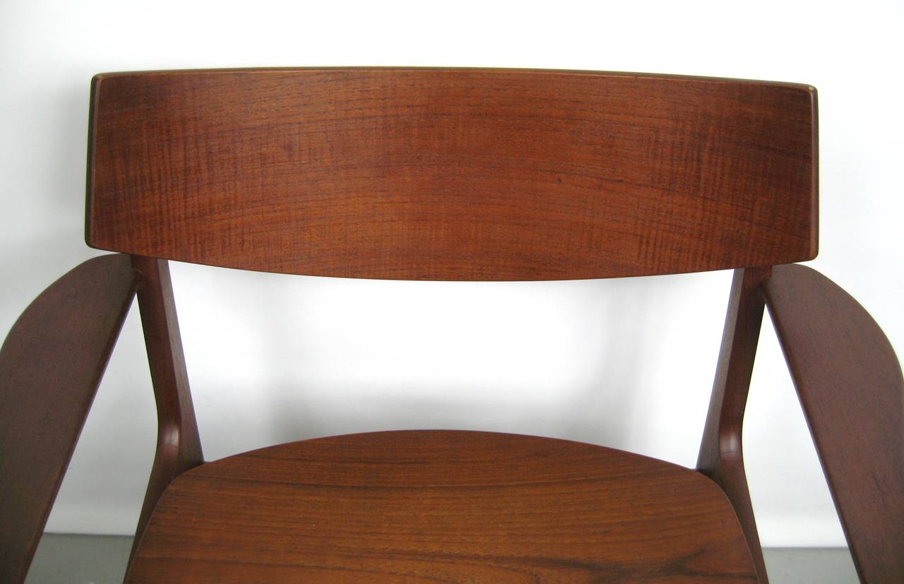 teak danish modern dining room table with ten chairs by erik buck
