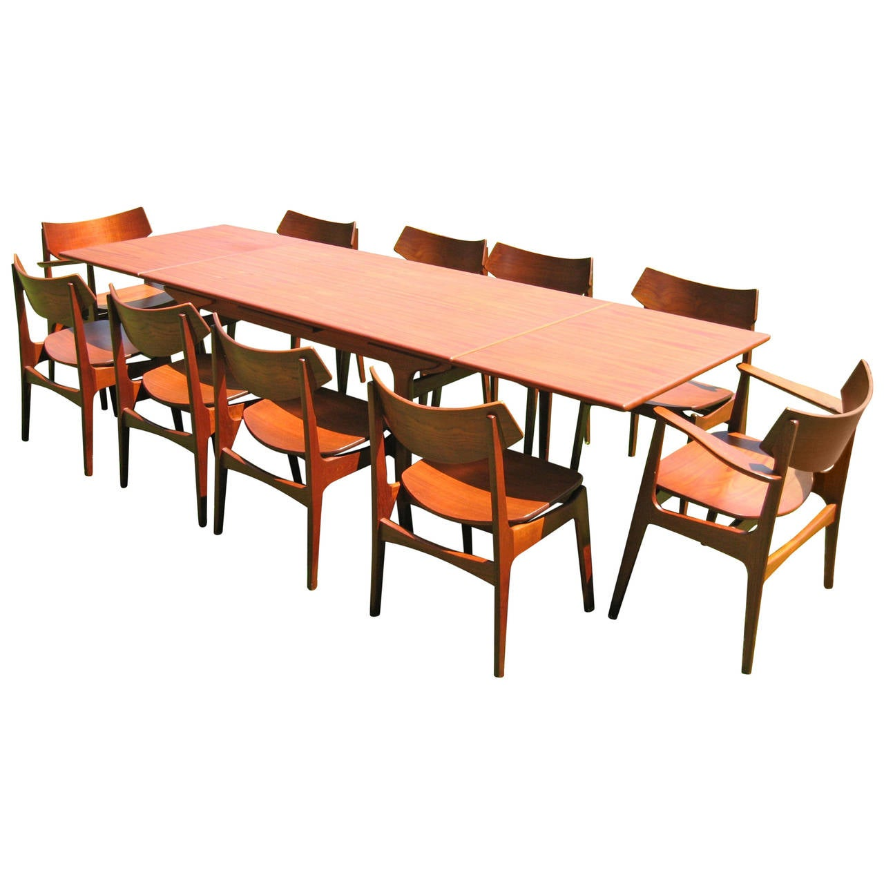 Teak Danish Modern Dining Room Table With Ten Chairs By
