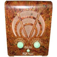 1930s R C A Chilote Marbleized Bakelite Tombstone Art Deco Tube Radio