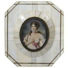 19th Century Victorian Painted on Bone Frame Portrait Miniature