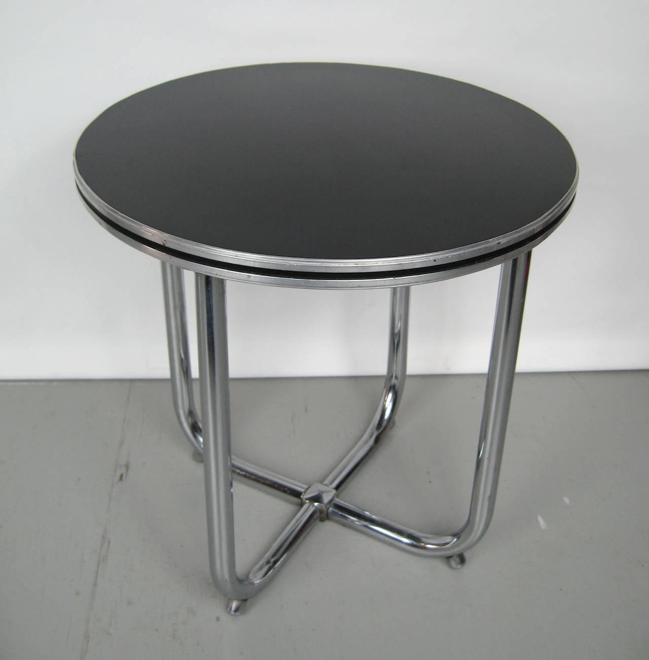 Black Amp Chrome Table ~ S streamline royal chrome art deco and black