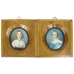 Pair of 19th Century Ivory Framed Portraits Signed Moritz Michael Daffinger