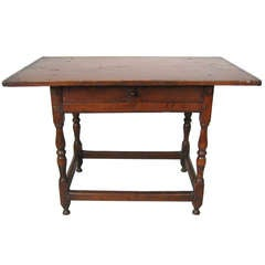 Early American 1800s Breadboard Top Tavern Table Pine