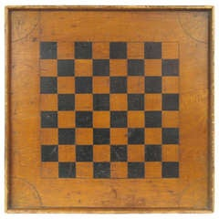 American Folk Art Game Chess Checker Board