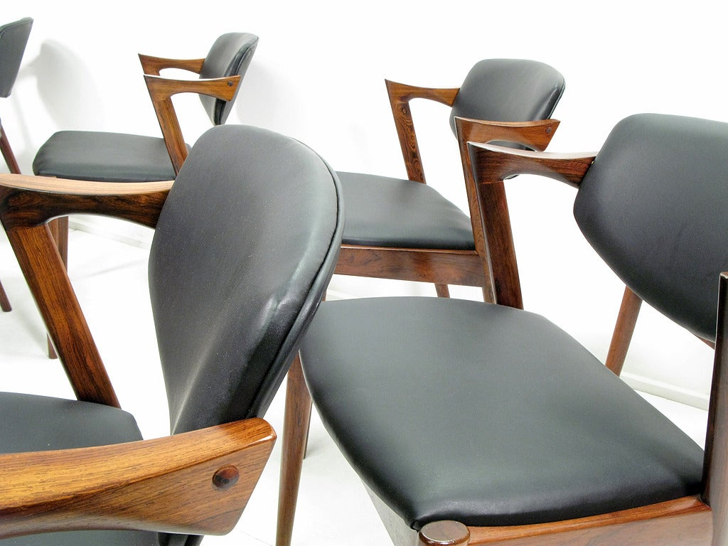 Eight danish rosewood dining chairs by kai kristiansen at 1stdibs - Kai kristiansen chairs ...
