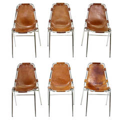 "Six ""Les Arcs"" Chairs by Charlotte Perriand"