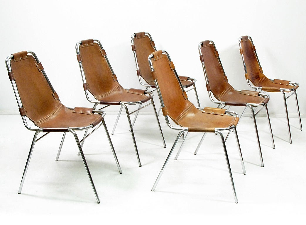 Six les arcs chairs by charlotte perriand at 1stdibs for Chaise longue b306