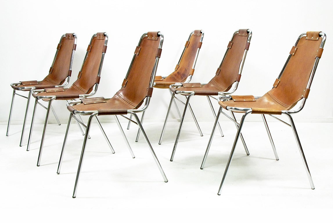 Six les arcs chairs by charlotte perriand image 4 for Chaise longue b306