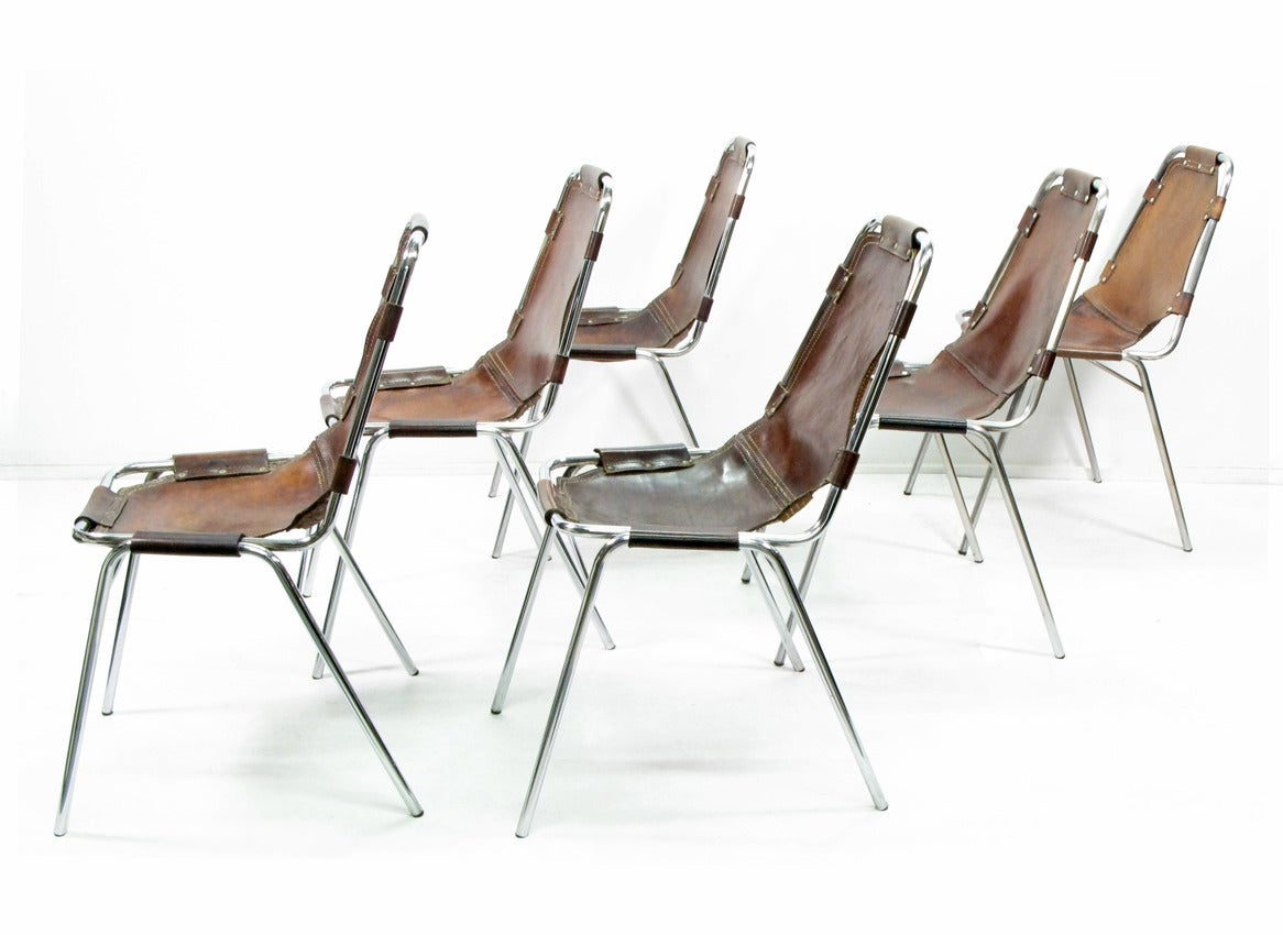 Six 1960s les arcs chairs by charlotte perriand at 1stdibs for Chaise longue b306