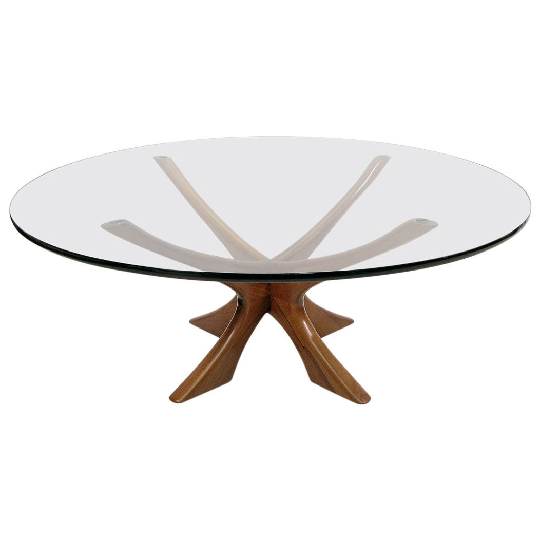 Large circular rosewood coffee table by illum wikkelso for Large circular coffee table