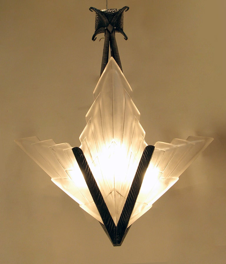 Fantastic Art Deco Chandelier By Degue At 1stdibs