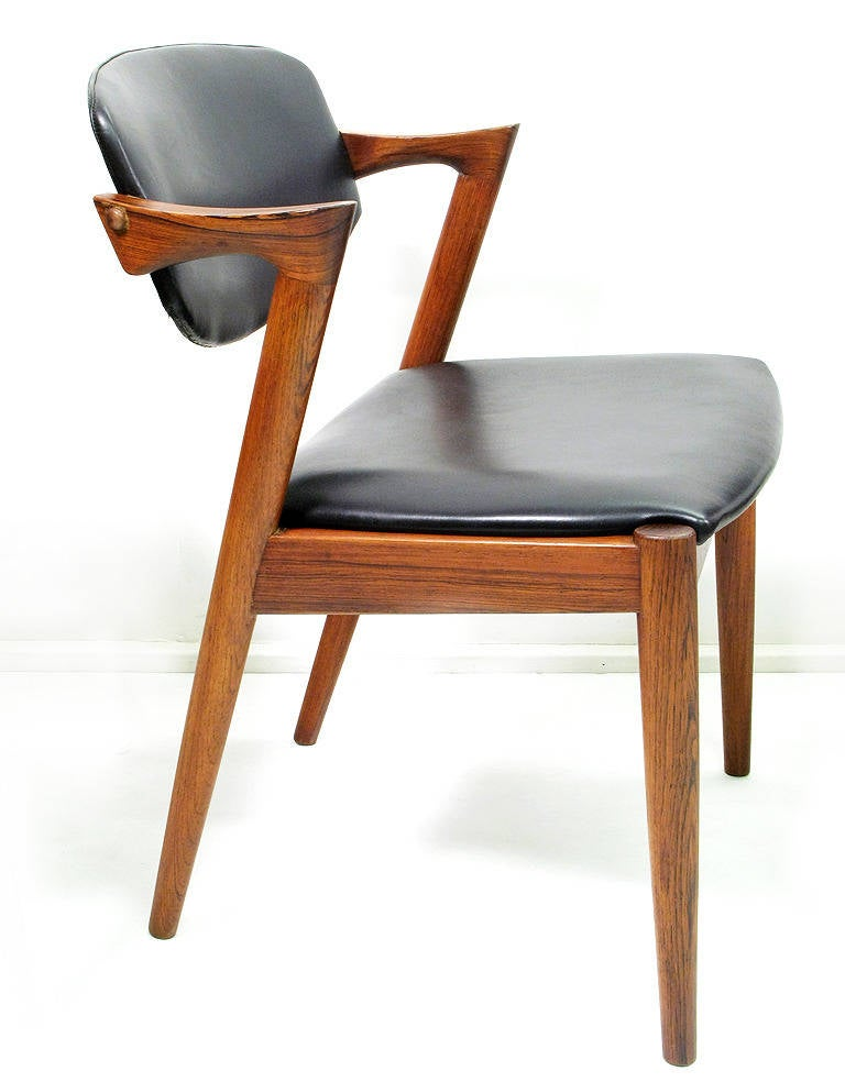 Eight rosewood model 42 dining chairs by kai kristiansen at 1stdibs - Kai kristiansen chairs ...