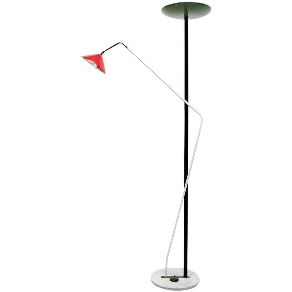Modernist 1950s italian uplighter floor lamp attributed to for Uplighter single floor lamp