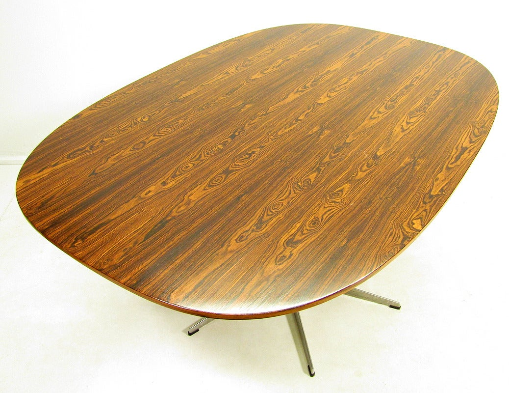 rosewood super ellipse table by piet hein and arne jacobsen