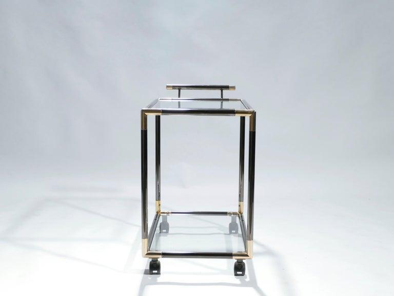 French Hollywood Regency Gunmetal Brass Bar Cart Maison Jansen Style, 1970s 3