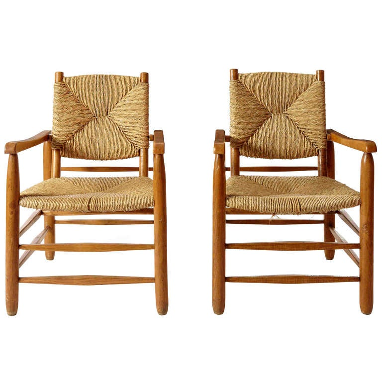 Charlotte Perriand, Pair Of Armchairs For Sale At 1stdibs
