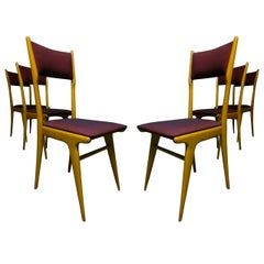 Set of Six Elm Chairs in the Style of Carlo de Carli, Italy, circa 1950