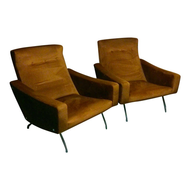 Joseph Andre Motte Pair Of Armchairs Steiner Editions