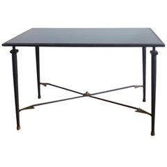 Neo classical brass and enameled steel table - France 1960's - Ipso Facto