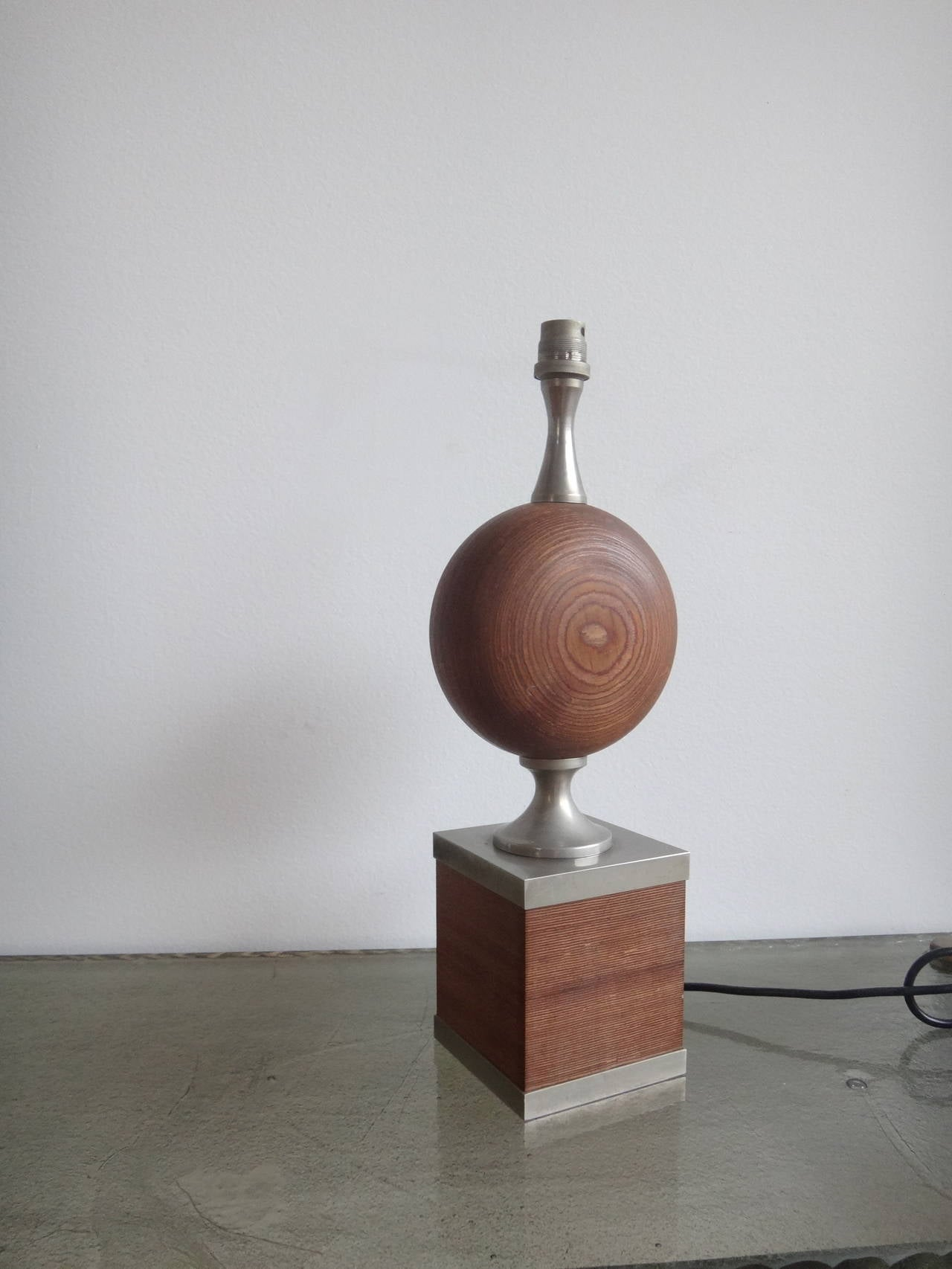 Rare Maison Barbier Wood and Steel Lamp - France 1970s - Ipso Facto For Sale 1